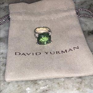 David Yurman 15mm Prasiolite Cushion on Point Ring
